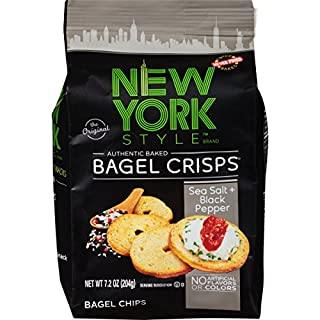 New York Style Bagel Crisps, Sea Salt + Black Pepper, 7.2 Ounce