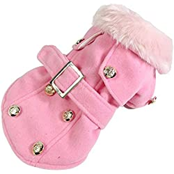SMALLLEE_LUCKY_STORE Pet Cat Dog Clothes European Woolen Fur Collar Coat Small Dog Cat Pet Clothes Costume Pink L