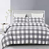 Vaulia Lightweight Microfiber Duvet Cover Set, Grid Pattern - Queen Size