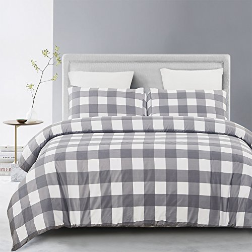 Vaulia Lightweight Microfiber Duvet Cover Set, Grid Pattern - Queen Size by Vaulia