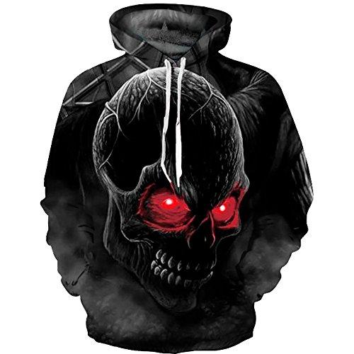 OYABEAUTYE Felpe 3D con stampato Felpe Lunghe Cranio Maniche Rosso cappuccio Unisex rHwrqF