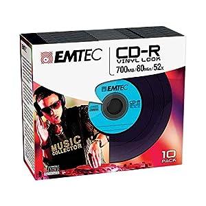 Emtec CD-R Vinil Look - Pack De 10 CD-R Imprimibles (52x, Slim New Packaging)