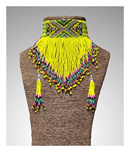 Largemouth Native American Beaded Tribal Choker Earrings Set (Yellow) ()
