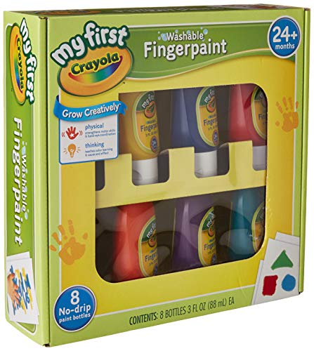 (Crayola Washable Finger Paints, 8-Count ( 3 Ounce no-drip Tubes ), Red, Blue, Yellow, Green, Orange, Purple, Lime Green and Teal)