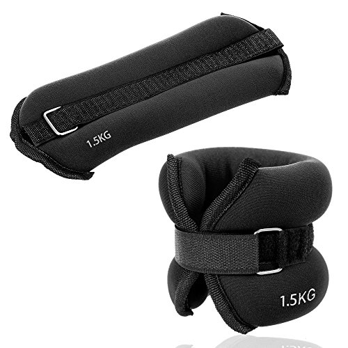 JBM Ankle Weights Wrist Leg Weights Sand Filling 2lb 4lb 6lb (A Pair) Adjustable Straps for Walking Jogging Gym Fitness Exercise Gymnastics Aerobics 3 Colours (Black, 3kg (6.6lbs))