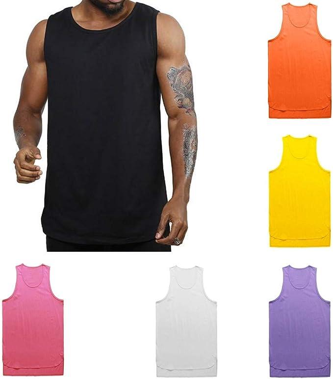 Mens Irregularity Casual Sport Pure Color Sleeveless Shirt Tee Blouse Basic Vest Tank