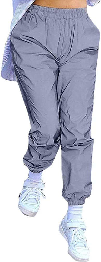 JSPOYOU Women High Waist Solid Luminous Sports Tights Pants Loose Casual Long Trousers