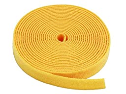 Monoprice Hook & Loop Fastening Tape 5 yard/roll, 0.75-inch - Yellow (105832)