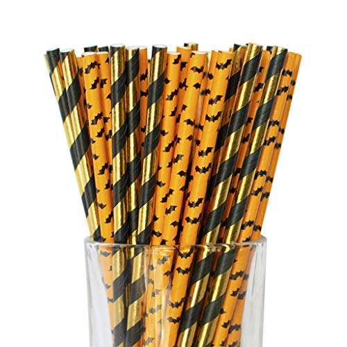 Halloween Decor Paper Straws for Halloween Orange, Black and Metallic Gold Disposable Paper Straws Kids Halloween Party, Pack of 50 by Twigs & Twirls