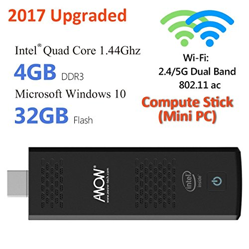 Atom Double Storage (AWOW Windows 10 Compute Stick Mini PC 4GB - ( Intel Atom X5 Z8350 1.44GHZ RAM 4GB Flash Storage 32GB Dual WiFi 2.4G/5G with 802.11 ac/b/g/n))