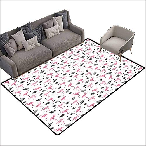 - Front Mat Home Decorative Carpet Colorful Flamingo,Watercolor Art Flamingos with Flower Motifs Coconut Tree Leaves Triangles,Black Pink Cream 80