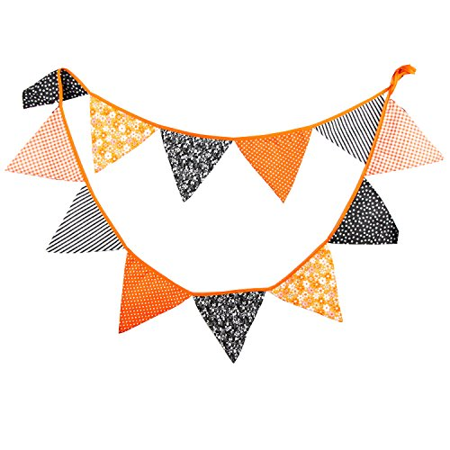 Orange Halloween Garland - 10.5 Feet Triangle Pennant Flags Gothic Bunting Banner Kit Garland For Halloween,Easter,Rock Party,Funeral,Outdoor Pennant Hanging Decoration,12 Flags, Pack of 1 (Orange&Gray&Black)