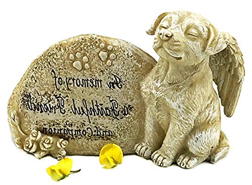 Mikash Dog Garden Statue Memorial Angel Pet Antique Stone in Memory of A Faithful Friend and Companion | Model MMRLD - 335 | 3 x 6 x 4 inches ()