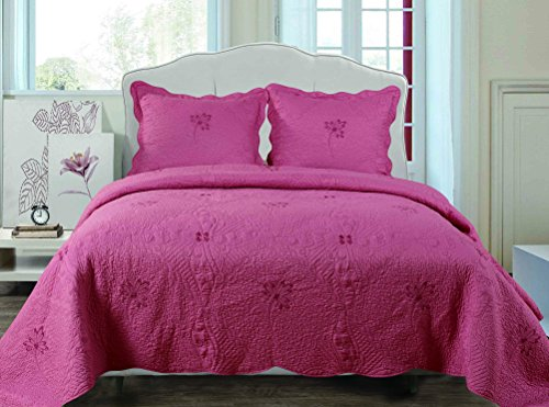 Embroidery All Season Solid Color 3pcs Quilts Set Bedspreads Bed Coverlets Cover Sets Cal-King Size 106″x91″