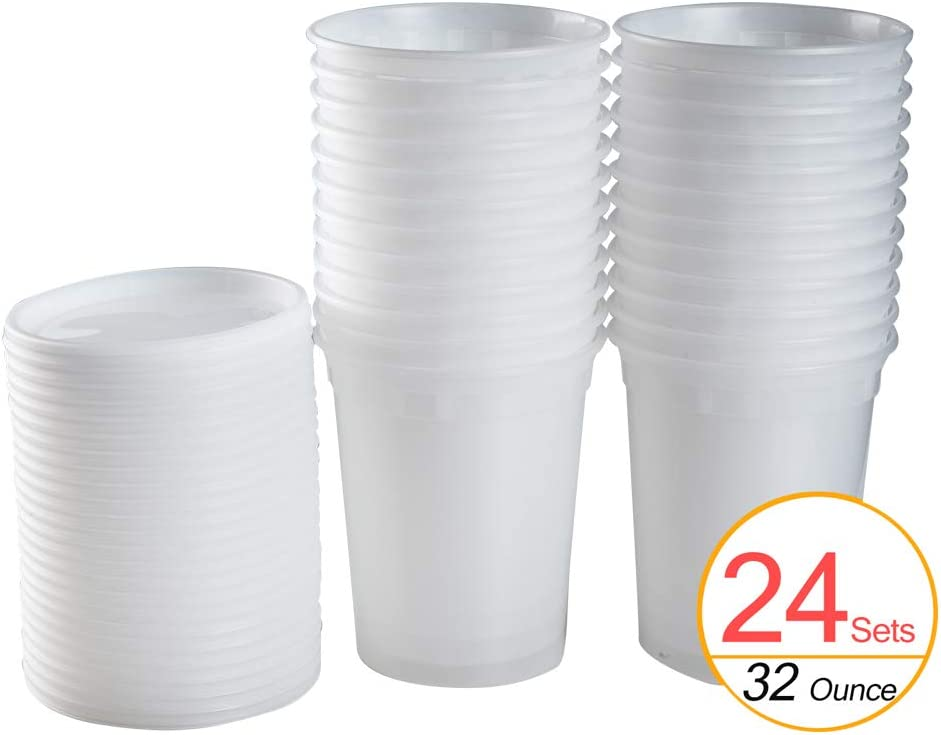 Tashibox [24 Sets, 32 oz] Plastic Deli Food Storage Freezer Containers With Airtight Lids,Plastic Microwavable Soup Containers