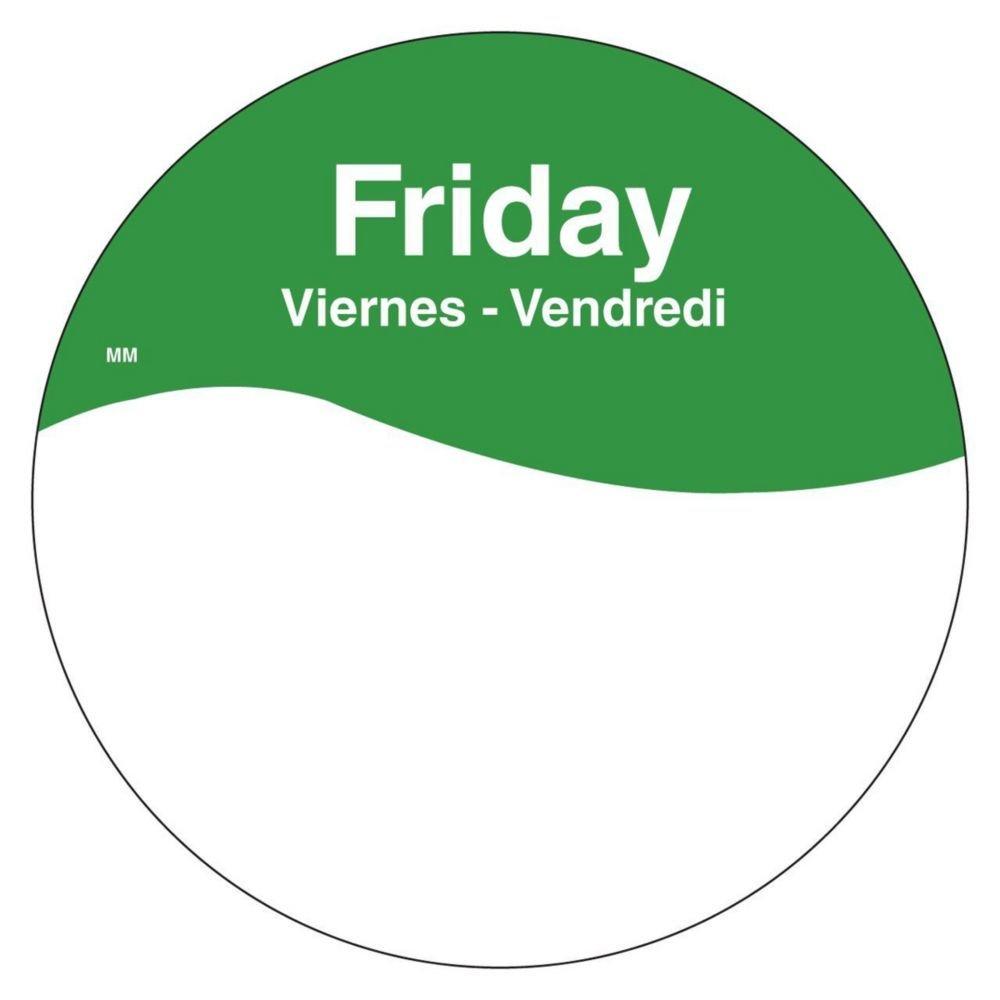 DayMark 1101085 MoveMark Trilingual 3'' Friday Day Circle - 500 / RL