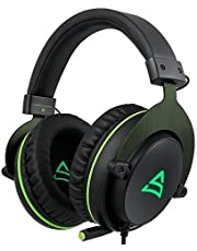 SUPSOO G817 7.1 Channel Virtual Surround Stereo Sound Gaming LED Lighting Over-Ear Headphones Wired Headset for PC Gamers with Mic Noise Cancelling & Volume Control ( Black & Green )