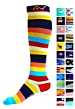 Compression Socks (1 pair) for Women & Men - Easywear Series - Best Graduated Athletic Fit for Running, Nurses, Flight Travel, & Maternity Pregnancy - Boost Stamina & Recovery (Savvy Stripes, S/M)