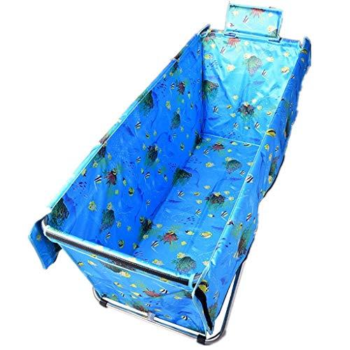 GWM Bathtub Folding Bathtub, Adult Bathing Bath Barrel Infant Swimming Pool Removable Tub Thicken Stainless Steel Body, 130x56x52cm (Color : Light Blue)