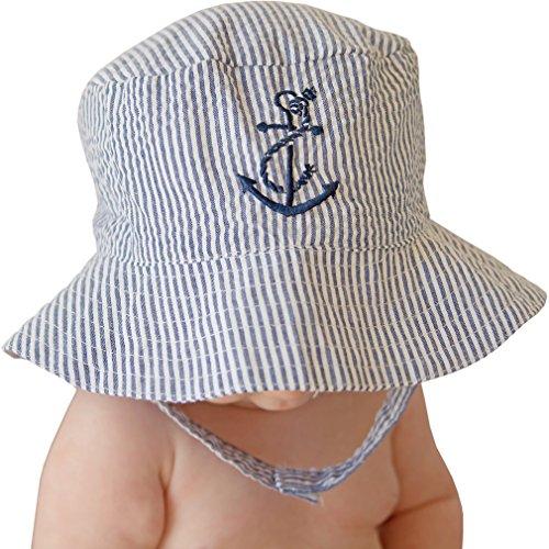 Huggalugs Baby & Toddler Boys Navy Seersucker Anchor Sun Hat UPF 25+ 6-12 -