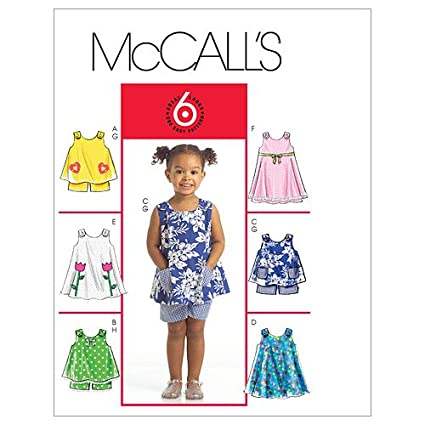 546048121d87ae Amazon.com: McCall's Patterns M5416 Toddlers' Tops, Dresses and Shorts:  Arts, Crafts & Sewing