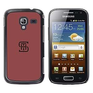 YOYOYO Smartphone Protección Defender Duro Negro Funda Imagen Diseño Carcasa Tapa Case Skin Cover Para Samsung Galaxy Ace 2 I8160 Ace II X S7560M - Letras iniciales SHT minimalista color rojo granate