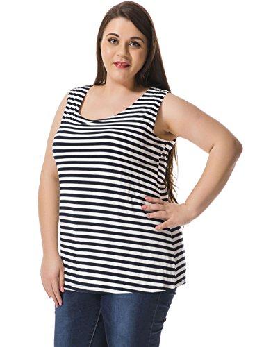Agnes Orinda Women's Plus Size Striped Top w Cut Out Bowknot Back Blue White (Blue Striped Tank Top Shirt)