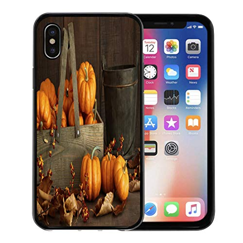 Semtomn Phone Case for Apple iPhone Xs case,Orange Autumn Small Pumpkins in Wooden Box Leaves and Berries Red Bountiful for iPhone X Case,Rubber Border Protective Case,Black