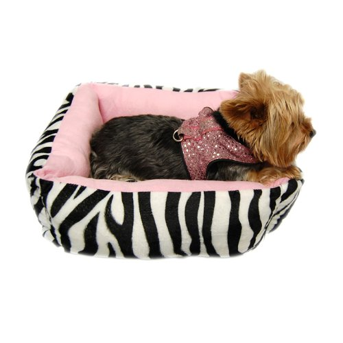 Anima Pink Ultra Plush Zebra Print Bed with Removable Pillow, 16 by 16 by 5.5-Inch, My Pet Supplies