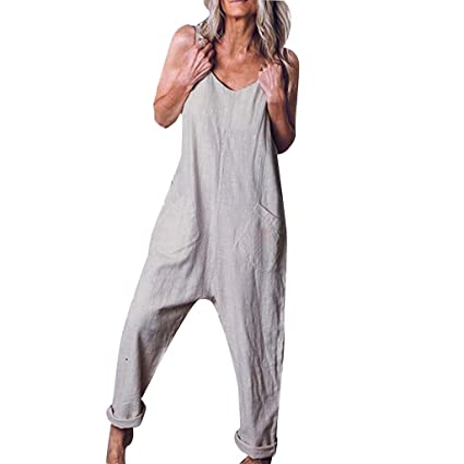 Transser Womens Plain V-neck Sleeveless Pantsuit Summer Casual Loose Baggy Overalls Long Jumpsuit Rompers with Pocket Big And Tall Plus Size S-5XL Appliances