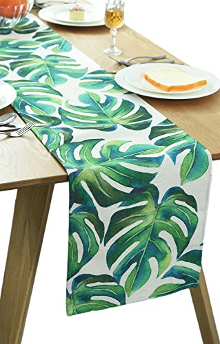 BOXAN Classic Durable White Linen Burlap Table Runner with Green Tropical Monstera Palm Leaves for Spring Summer Wedding Party Birthday Party Home Decor, Hawaii Luau Party Decor, 12x72 - Runner Leaves Table