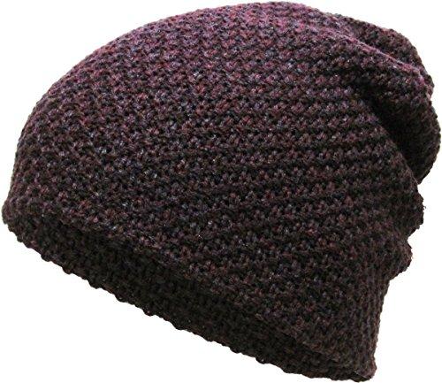(KBW-251 BUR Waffle Knit Slouchy Beanie Baggy Style Skull Cap Winter Unisex Ski Hat)