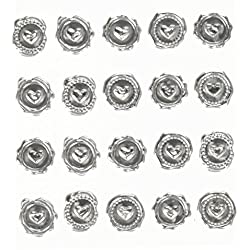 Darice David Tutera Illusion Wax Seal Heart Stickers-Silver