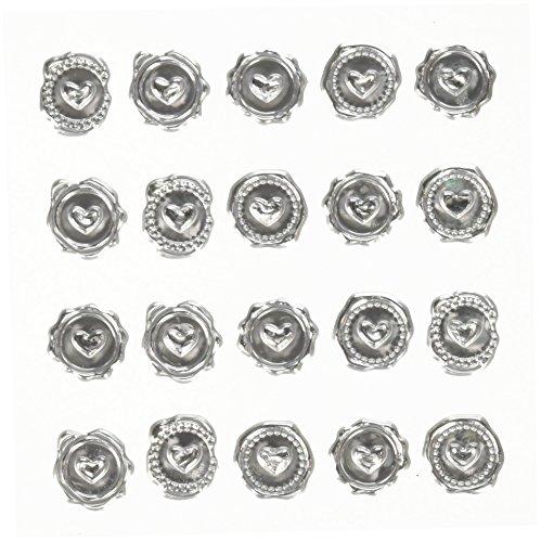 Darice David Tutera Illusion Silver Wax Seal Heart Stickers -