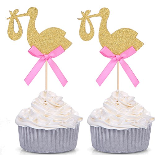 Baby Shower Cupcake Toppers - 24 PCS Golden Stork Baby Shower Cupcake Toppers - by Giuffi