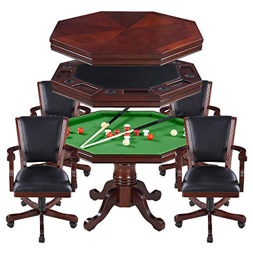Hathaway Kingston 3-in-1 Poker Table with 4 Chairs, Walnut Finish (And Poker Chairs Table)
