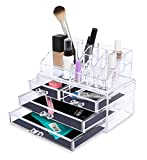 Internet's Best Acrylic Cosmetic Makeup Organizer | 2 Piece Box with Multi Compartments for Organization & Storage | Jewelry Display & Drawers | Clear Display Rack Holder