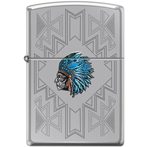Zippo Indian Chief with Turquoise Feather Headress and Engravings (Feather Zippo Lighter)