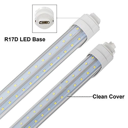 CNSUNWAY 8ft T8 LED Tube, 96'' R17D V-shaped 270° Lighting Bulbs, 6000K Cool White Clean Cover Light, Work Without Ballast (50 Pack, US Stock) by CNSUNWAY LIGHTING (Image #1)