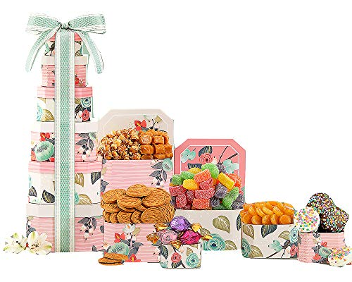 Joy Gift Tower - Happy Birthday Wine Country Gift Baskets Candy and Sweets Gift Tower for Birthday Joy