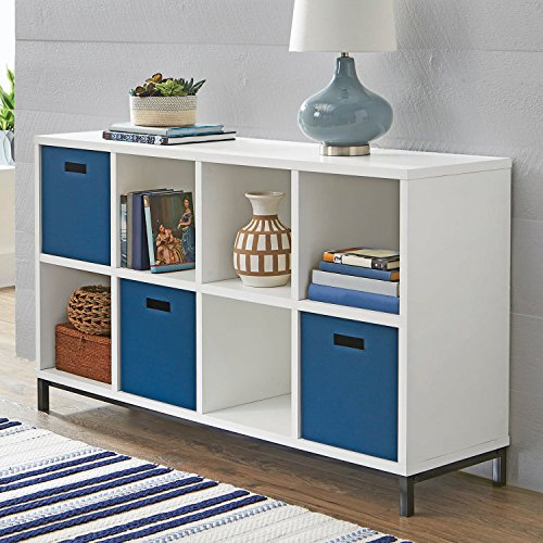 (White Metal Base Storage Cabinet Organizer Unit Shelf Furniture Living Room Bedroom Kitchen Cupboard Home Office Decorative Shelves Display Drawer Decor)