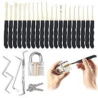24 Piece Premium Titanium Lock Tool Set with Transparent Pad Lock from Q5