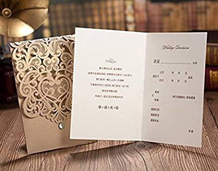 Printable Rhinestone Birthday Invitations Kit Card Stock for Engagement Quincenera Dinner Party with Envelope 1 Sample WISHMADE Gold Laser Cut Heart Design Wedding Invites
