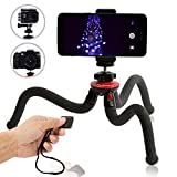 Qualmond Universal Flexible Tripod: Phone - Camera - Gopro Tripod Adapters For Iphone - DSLR - Smartphone-Sturdy - Lightweight - Handy Tripod Stand w Bluetooth Remote Control-Octopus Style - Black & Red