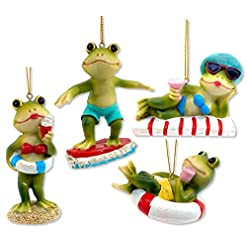 Beach Themed Christmas Ornaments THE JOY TREE Frog Beach Coastal Ornaments – Highly Detailed – Set of 4 beach themed christmas ornaments