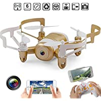 Mini RC Quadcopter Drone, 2.4GHz 6Aaxis Gyro Headless WIFI FPV RC Helicopter Drone with HD Camera Gold