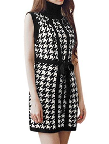 Mujer Cuello Alto Diseño 'pata De Gallo' Diseño Túnica Sin Mangas Vestido Negro