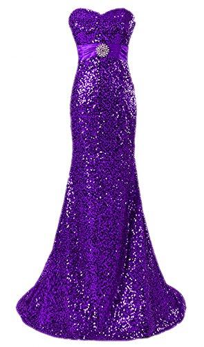 Robes De Bal Longue Sequin Femmes De Mariée Sirène Anna Robes De Soirée Violette