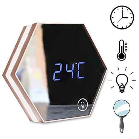 HSRG USB Espejo Alarma Reloj Digital Baño Dormitorio Noche Luz Pared Montaje Tabla LED Lámpara Maquillaje
