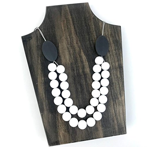 Teething Necklace for Moms by Lolly Llama - BPA Free Silicone Baby Teether Necklaces/Nursing Necklace with Chewbeads The Perfect Baby Gift - New (White)